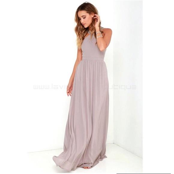 f47674afa92ff Lulu's Dresses & Skirts - Lulus Air of Romance Taupe Flowy Maxi Dress ...